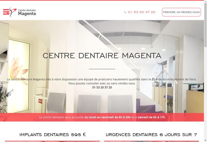 Capture d'écran du site de Centre Dentaires Nord Magenta