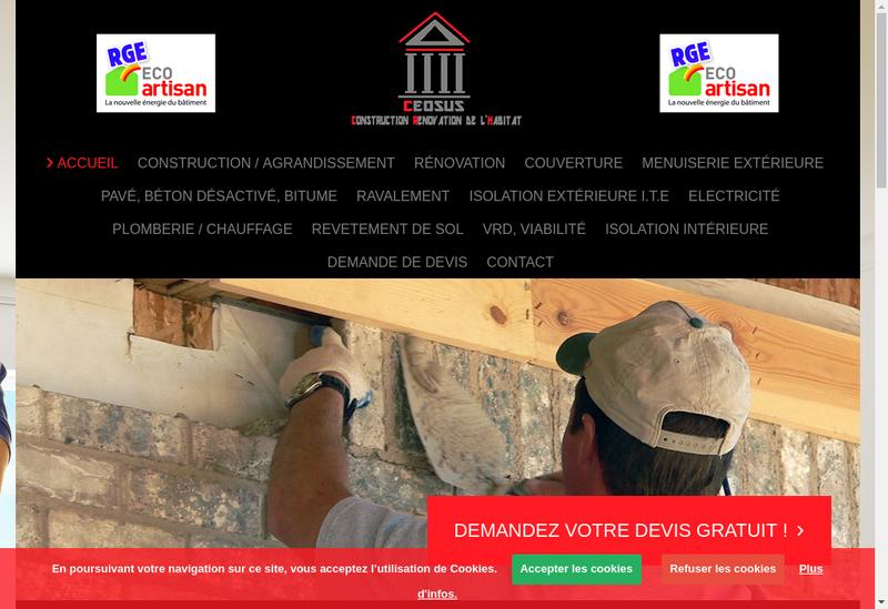 Capture d'écran du site de Ceosus Construction
