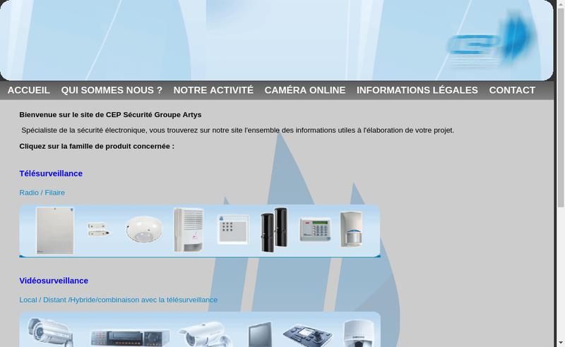 Capture d'écran du site de Cep Securite