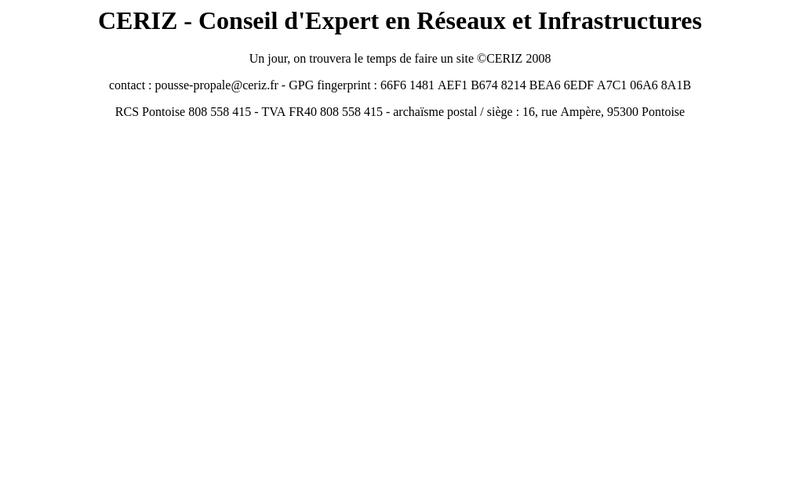 Capture d'écran du site de Ceriz
