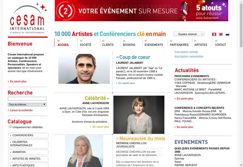 Capture d'écran du site de Cesam International
