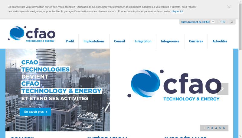 Capture d'écran du site de Cfao Technologies
