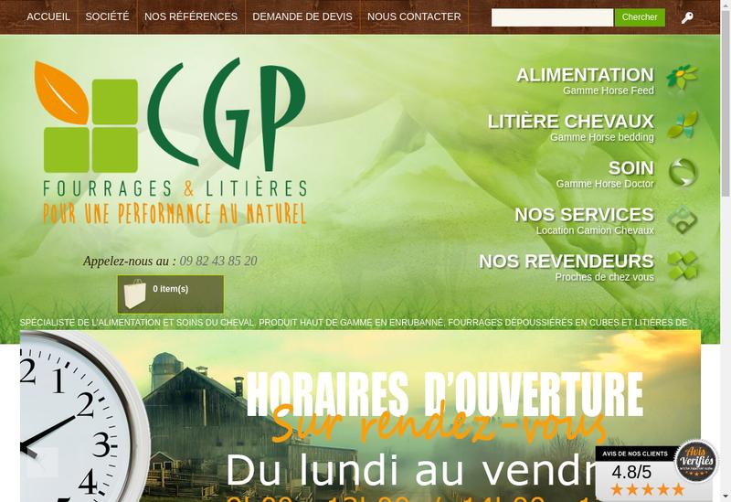 Capture d'écran du site de Cg Packaging Concept Grass Packaging
