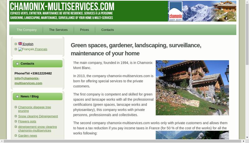 Capture d'écran du site de Chamonix Multiservices Com