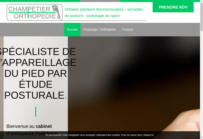 Capture d'écran du site de Champetier Orthopedie