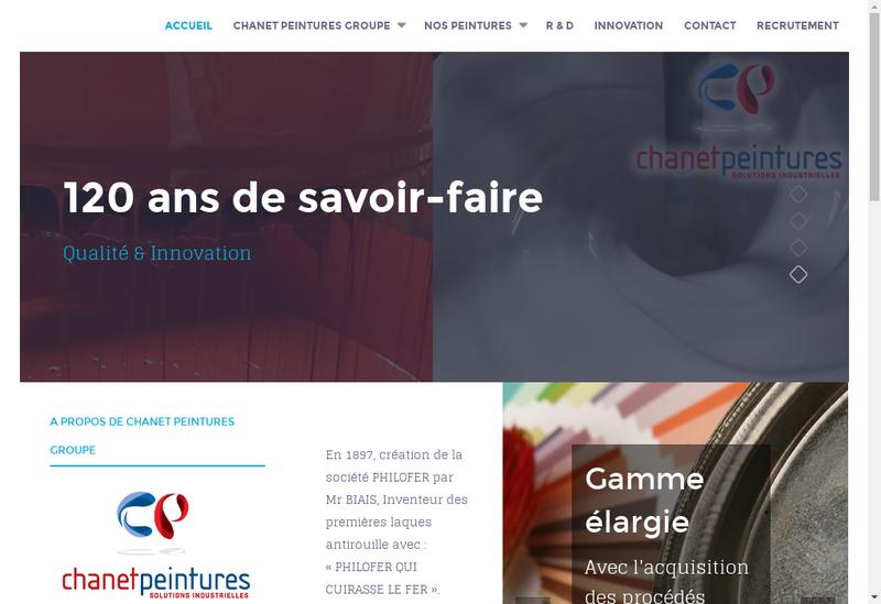 Capture d'écran du site de Chanet Peintures