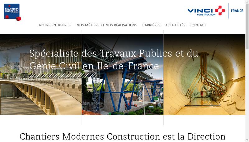 Capture d'écran du site de Chantiers Modernes Construction