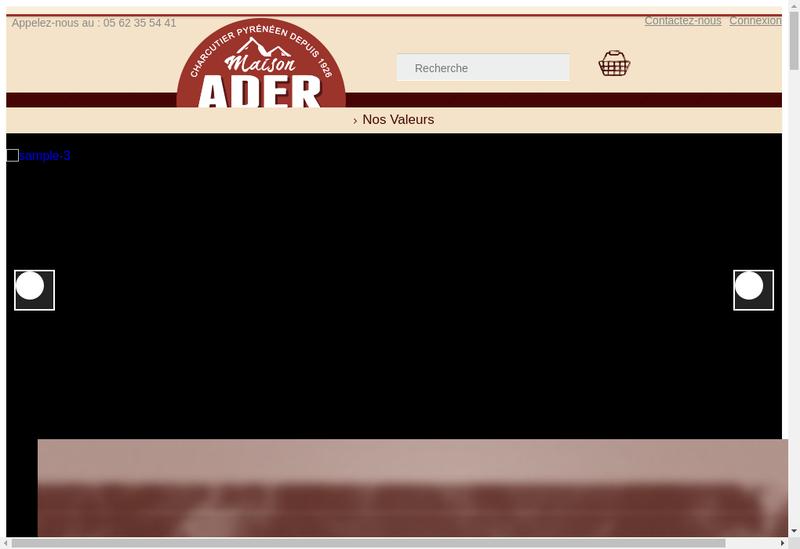 Capture d'écran du site de Charcuterie Ader