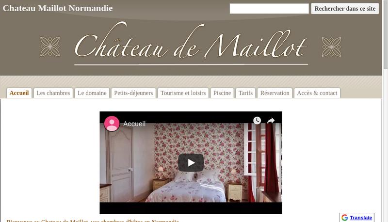 Capture d'écran du site de Les Animaux de Maillot et Chambres et Gites au Chateau de Maillot