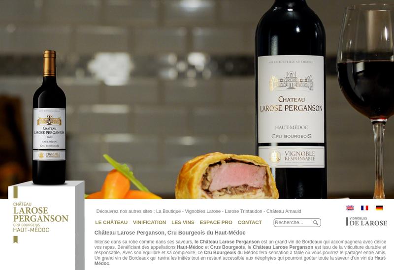 Capture d'écran du site de Vignobles de Larose