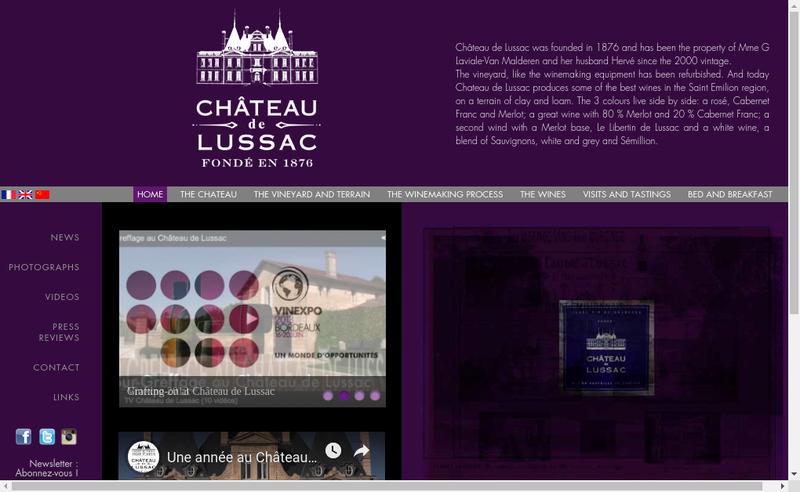 Capture d'écran du site de SCEA du Chateau de Lussac
