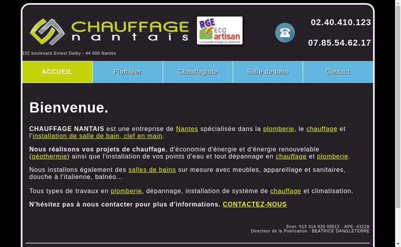Capture d'écran du site de SARL Chauffage Nantais
