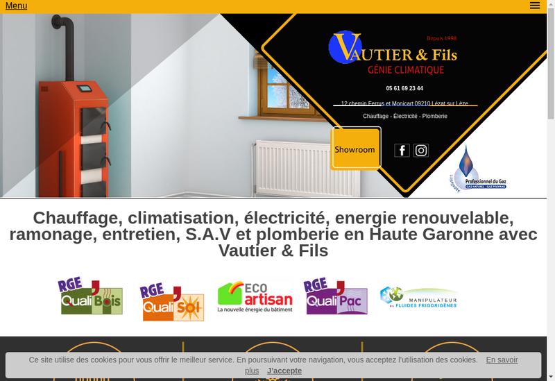 Capture d'écran du site de Vautier SARL
