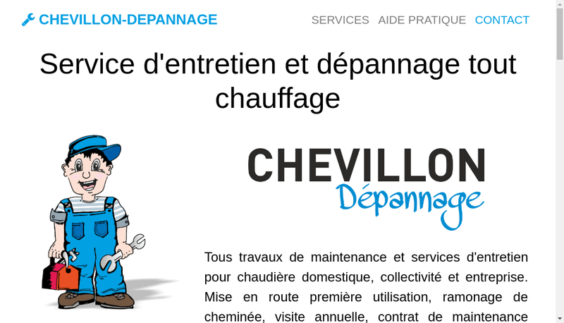 Capture d'écran du site de Chevillon Depannage
