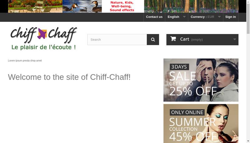 Capture d'écran du site de Chiff Chaff