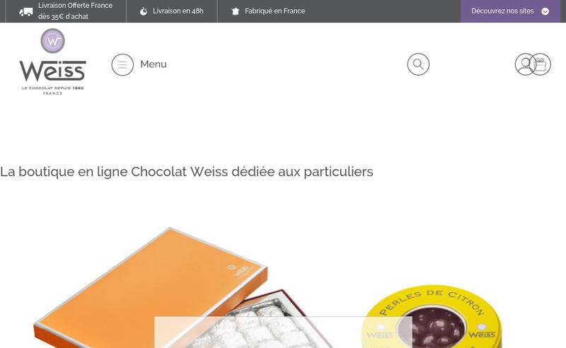 Capture d'écran du site de Chocolat Weiss