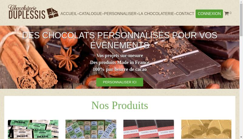 Capture d'écran du site de Chocolaterie du Plessis
