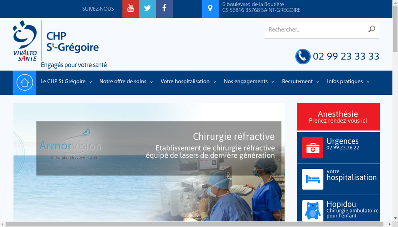 Capture d'écran du site de Clinique Saint Vincent
