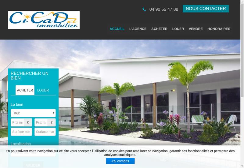 Capture d'écran du site de Cicada Immobilier