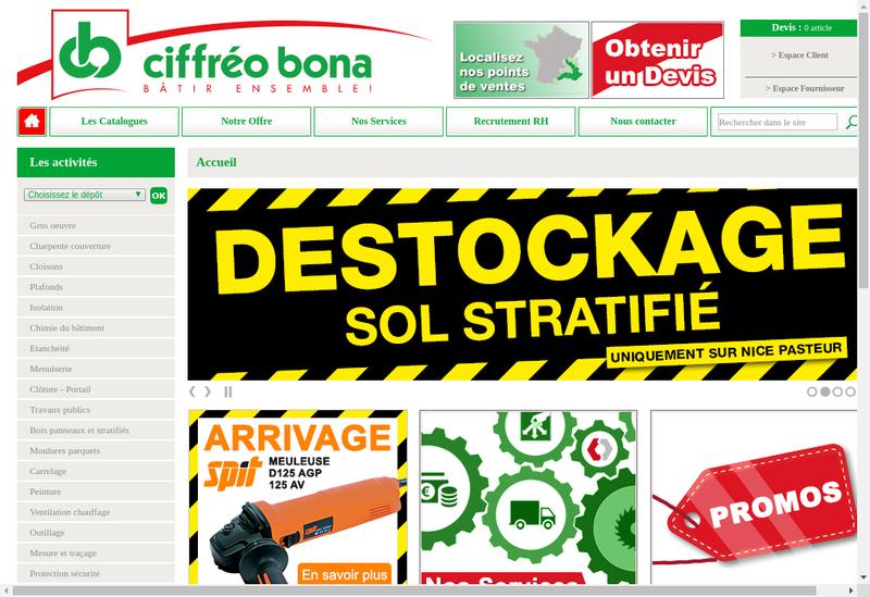 Capture d'écran du site de Ciffreo Bona