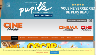 Capture d'écran du site de Cine Leman