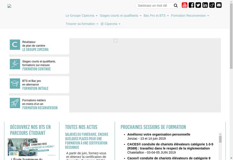 Capture d'écran du site de Cipecma Formation Collectivites