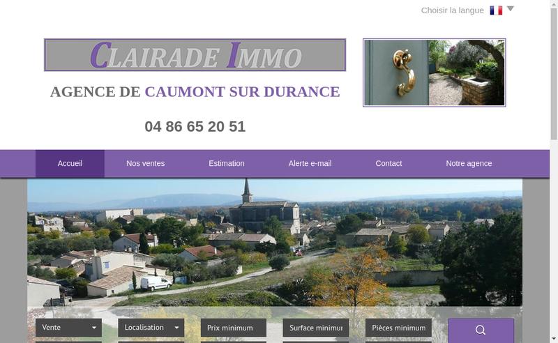 Capture d'écran du site de Clairade Immo