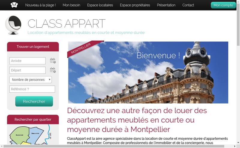 Capture d'écran du site de Class Appart