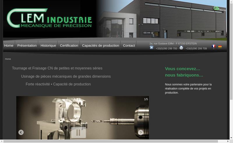 Capture d'écran du site de Clem Industrie