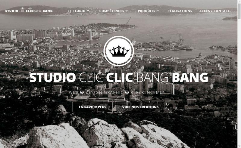 Capture d'écran du site de Studio CLIC CLIC BANG BANG