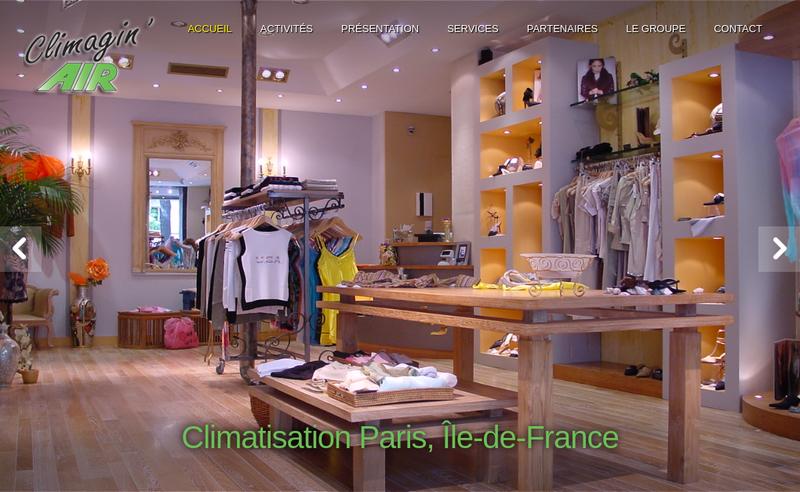 Capture d'écran du site de Climagin Air