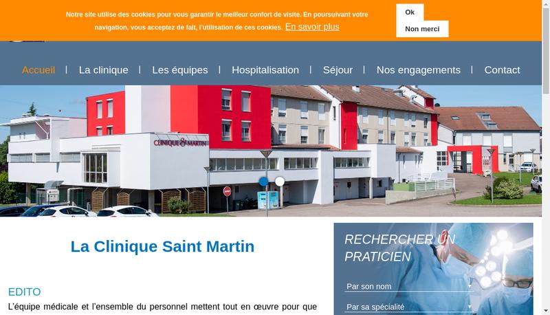Capture d'écran du site de Clinique Saint-Martin