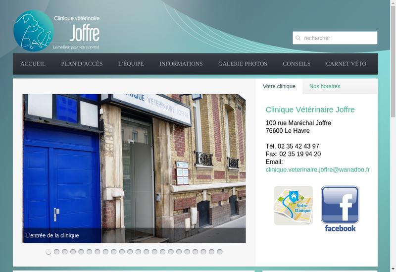Capture d'écran du site de Clinique Veterinaire Joffre