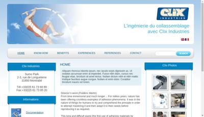 Capture d'écran du site de Clix Industries
