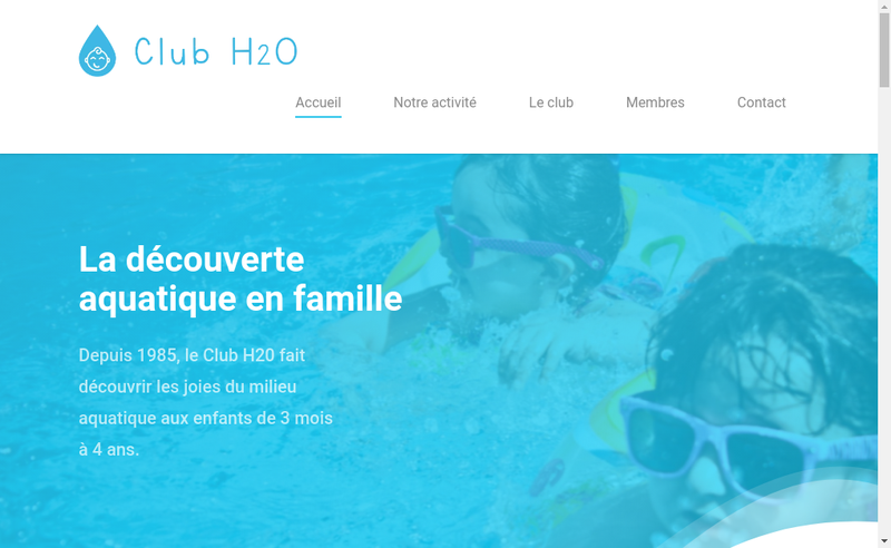 Capture d'écran du site de Club H2O