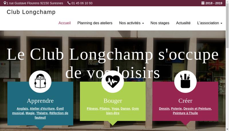 Capture d'écran du site de Club Longchamp
