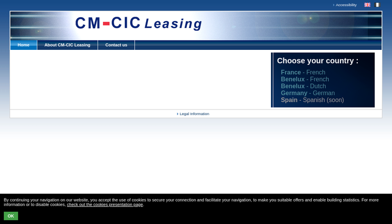 Capture d'écran du site de Cmcic Lease