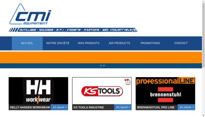 Capture d'écran du site de CMI Equipement
