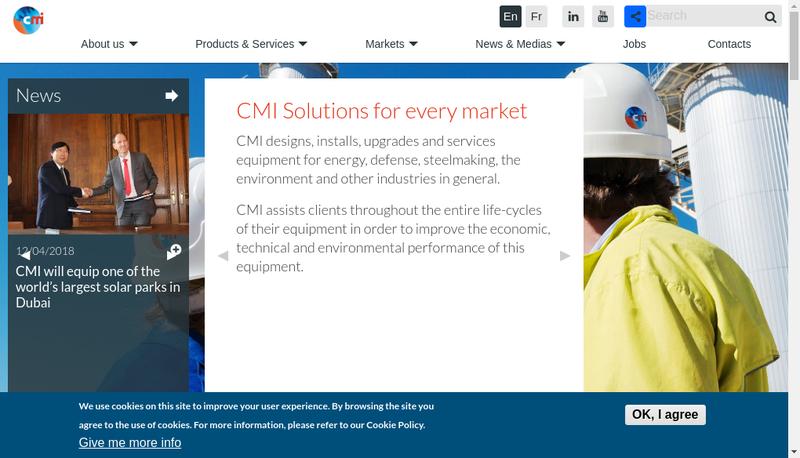 Capture d'écran du site de Cmi Maintenance Nord SAS