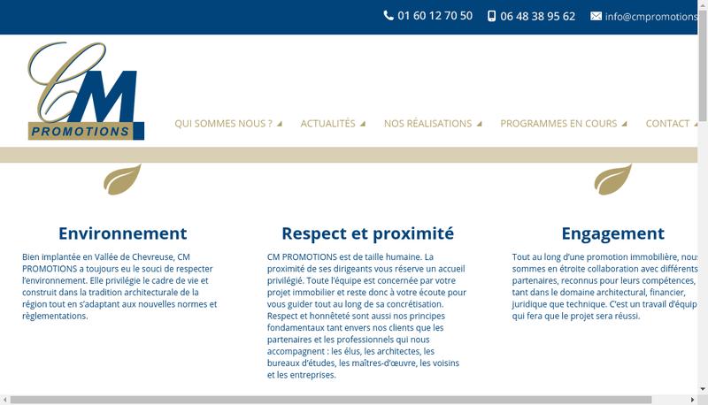 Capture d'écran du site de Cm Promotions