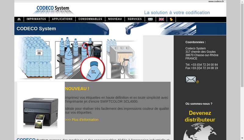 Capture d'écran du site de Codeco'System