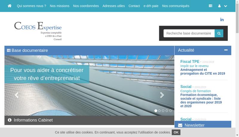 Capture d'écran du site de Coeos Expertise