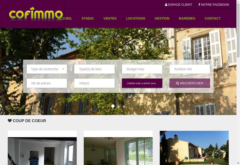 Capture d'écran du site de Cofimmo