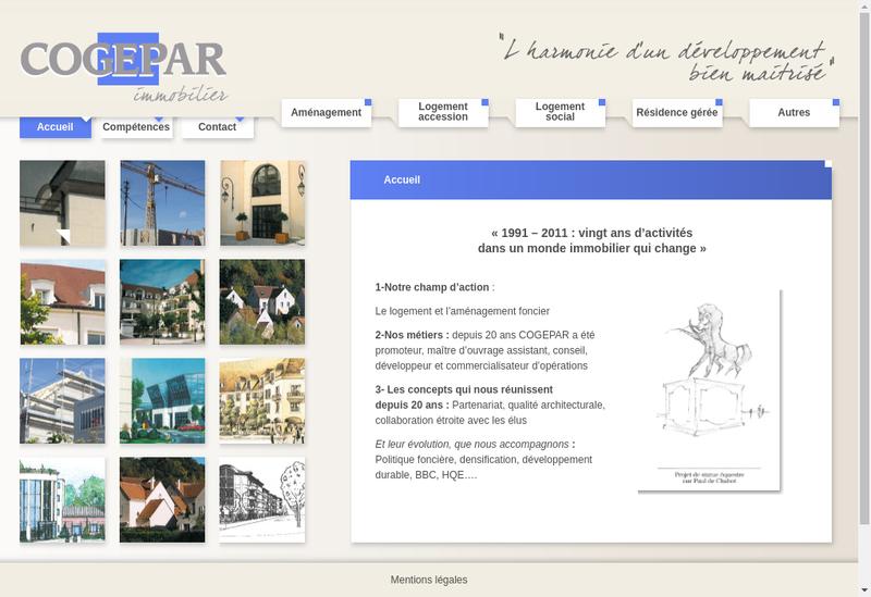 Capture d'écran du site de Cogepar