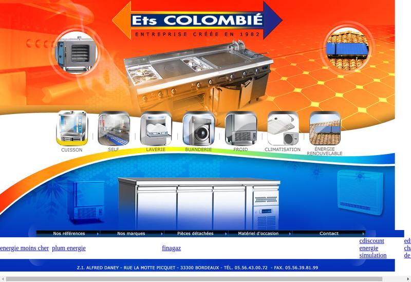 Capture d'écran du site de Ets Colombie SARL