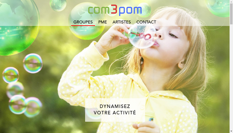 Capture d'écran du site de Com3Pom