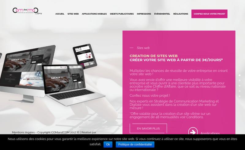 Capture d'écran du site de Comandcom