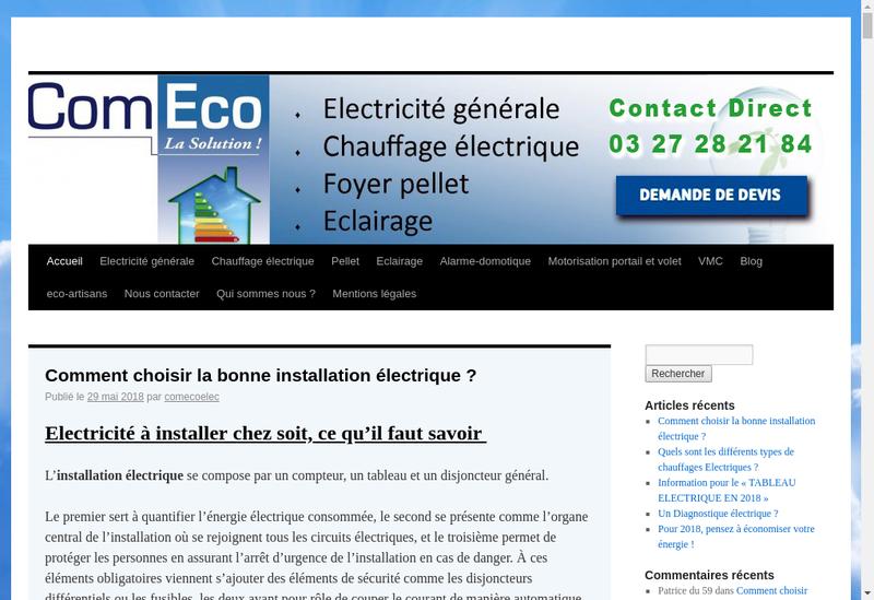 Capture d'écran du site de Comeco