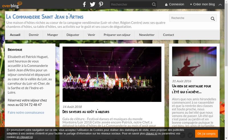 Capture d'écran du site de La Commanderie St Jean d'Artins