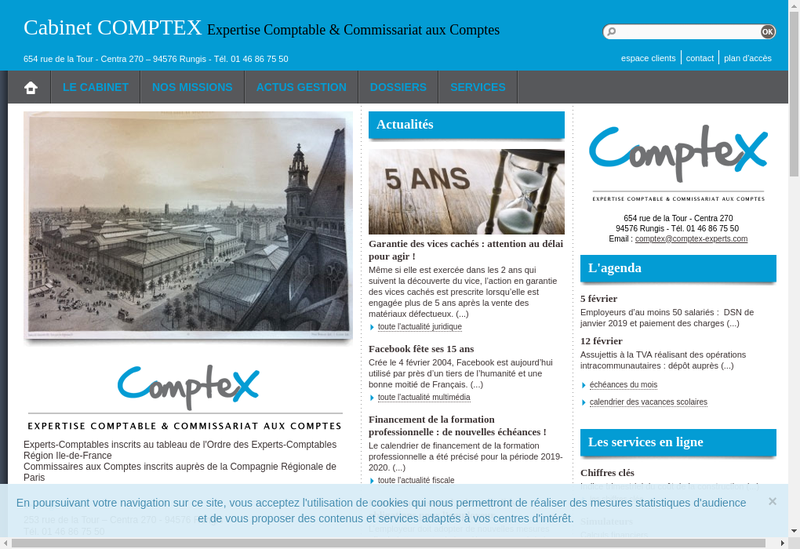 Capture d'écran du site de Comptex
